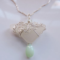 Beachcombed Sea Glass Chalcedony Silver Wire Crocheted Necklace Hawaii Sea Glass Jewelry
