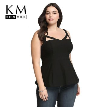 KissMilk 2018 Plus Size Women Clothing Fashion Sexy Beautiful Spaghetti Strap Ruffles Tank Tops Female Big Size Lady 3XL-6XL