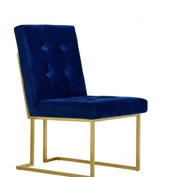 Pierre Navy Velvet Dining Chair With Gold Base (set of 2)