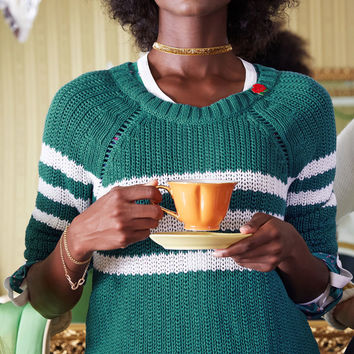 Mind Over Alma Mater Striped Sweater in Teal | Mod Retro Vintage Sweaters | ModCloth.com