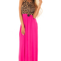 Magenta Maxi Dress with Leopard Contrast and Side Pockets
