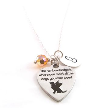 Rainbow Bridge Pet Loss Charm Necklace - Personalized Sterling Silver Jewelry