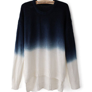Gradient Color Scoop Neck Long-Sleeved Pullover Top Sweater