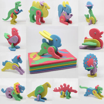Children Mini EVA Foam Alphabet 3D Animal Puzzle Kids Educational Toys 1pcs