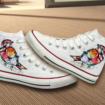 hand painted unique bird design converse shoes