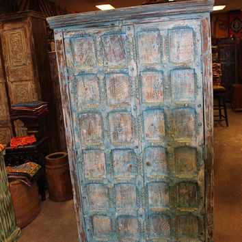 Antique Indian Distressed Cabinet Vintage Solid Wood Handcarved Gorgeous Classic Double Door Armoire