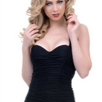 Plus Size Sexy New One Piece Pleated Bikini Swimwear in Black