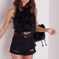FEATHER FRONT CROP TOP BLACK