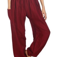 Boho Harem Yoga Pants - Solid Burgundy