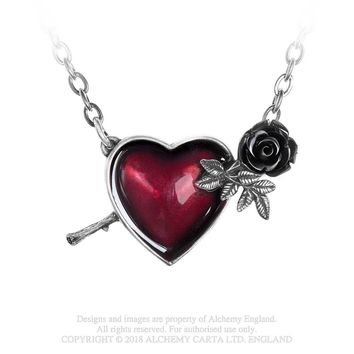 Alchemy Gothic Wounded By Love Red Heart Black Rose Pendant Necklace