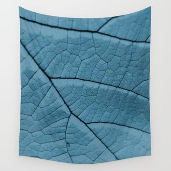 Blue Leaf Wall Tapestry by ARTbyJWP