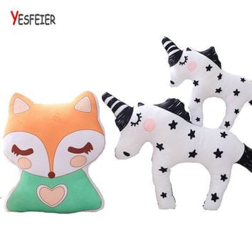 Cute fox plush pillow Horse plush toys Unicorn doll stuffed animals toy birthday gift for Children kids baby