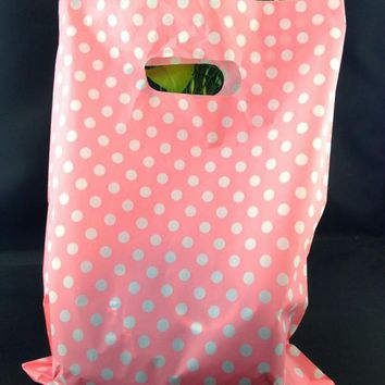 "25x35cm (9.8""x13.7"") 100pcs Pink Dot Cute Plastic Bags Cosmetic Favor Gift Bags Boutique Large Plastic Shopping Bags With Handle"