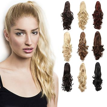 "20"" Curly Synthetic Clip In Claw Drawstring Ponytail Hair Extension Synthetic Hairpiece with a jaw/claw clip"
