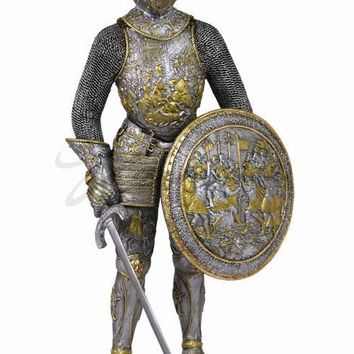 Medieval Knight with Military Victory Shield Statue 13H