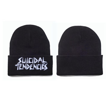 Suicidal Tendencies Beanie Womens & Mens Warm Winter Knitted Black Cuffed Skully Hat