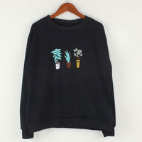 Potted Plants Embroidered Sweatshirt