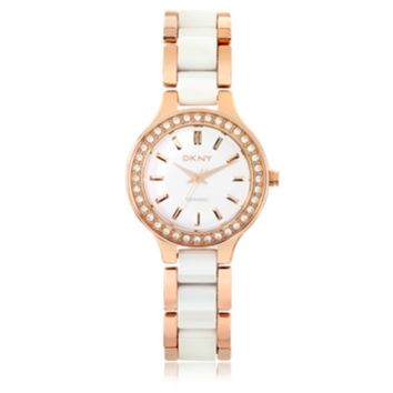 DKNY Designer Women's Watches Chambers White Ceramic and Rose Gold Tone Stainless Steel Women's Watch