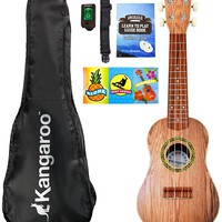 """21"""" Ukulele with Electronic Tuner, Strap, Picks, Carrying Case & Songbook"""