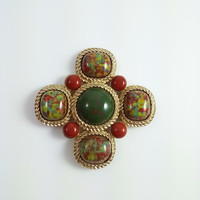 Vintage SARAH COVENTRY Brooch - Maltese Cross Confetti Cabochons