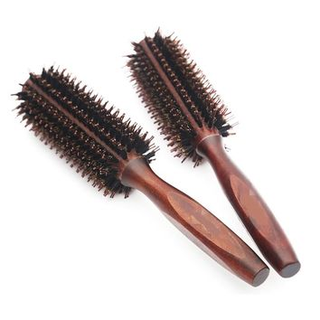 Hair combs 100% Bristles brush blowing straight bangs pear head buckle Barber Styling Comb Cylinder Round brushes