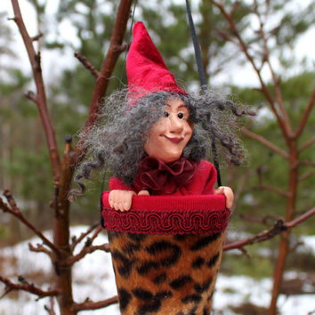 "Puppet ""Angelina"" - Wine Red, Hand Sculpted Art Doll / Toy"