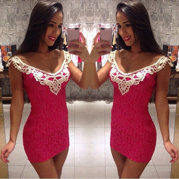 Red Lace Sleeveless Bodycon Short Party Mini Dress