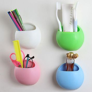 Cute Toothbrush Holder Suction Hooks Cups Bathroom Accessories Tooth Brush Holder Cup Wall Mount Sucker Set Organizer