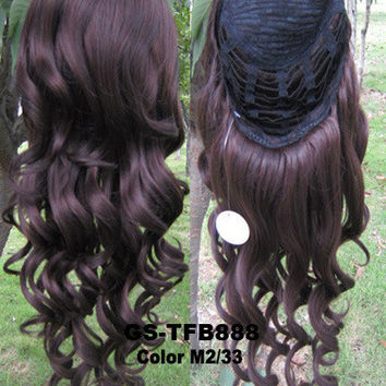 """HOT 3/4 HALF LONG CURLY WAVY WIG HEAT RESISTANT SYNTHETIC WIG HAIR 200G 24"""" HIGHLIGHTED CURLY WIG HAIRPIECES WITH COMB WIG HAIR GS-TFB888 M2/33"""