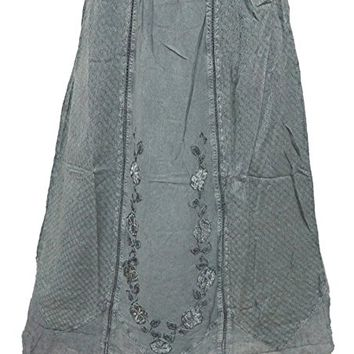 Mogul Women's Long Skirt Grey Embroidered Zig- Zag Style Peasant Skirts XS