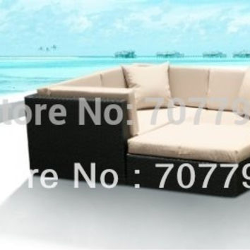 New!All Weather PE Resin 4pc Patio Deep Seating Lounge Sectional Sofa Set