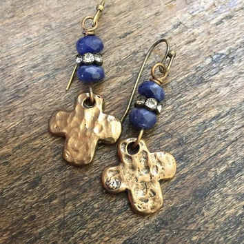 Hammered Cross Knotted Blue Gemstone Crystal Dangle Earrings, Religious Jewelry by Two Silver Sisters