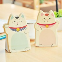 Kawaii Cute Lucky Cat Animal Mini Planner Sticker Notepad Post It School Supplies Material Sticky Memo Agenda Notes For Student