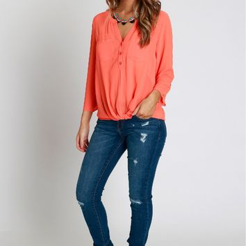 Twist Pocket Blouse Poppy