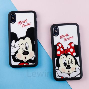 Luxury Acrylic Minnie Mickey Mouse Mirror Cases for iPhone X Case luxury Brand Soft TPU Silicone Cute Cartoon Phone Cover T05