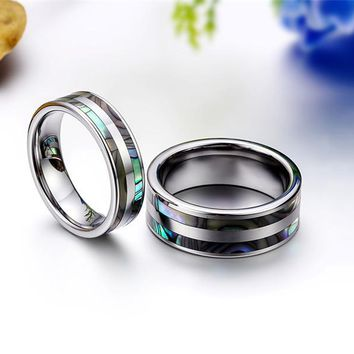 Tungsten Carbide Ring with Double Abalone Shell Inlay