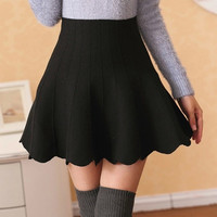 High Waisted Scalloped Mini Skirt
