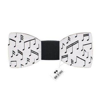 Wooden White Musical Notes Bow Tie
