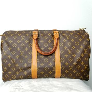 AUTHENTIC LOUIS VUITTON MONOGRAM KEEPALL 45 DUFFLE TRAVEL BAG PRE OWNED