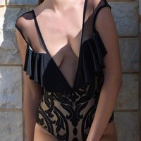 Black Floral Grenadine Ruffle Backless Plunging Neckline Fashion Swimwear