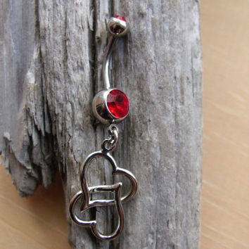 Movable Heart Belly Button Ring  Two Gems by creatureofthesea