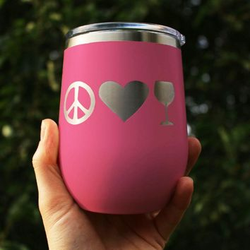 Peace Love Wine - Wine Tumbler