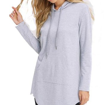 Kixters - Heather Grey French Terry Tunic Hoodie