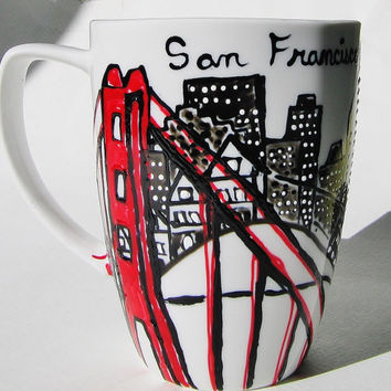 Long Distance, San Francisco Skyline Mugs w/ hearts Cityscape, Skydiver, Personalized Mug,