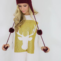 Reindeer Games Ivory & Gold Reindeer Tunic Dress