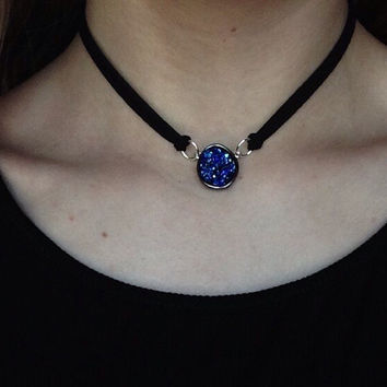 Royal Blue Druzy Crystal Choker Necklace / Druzy Crystal / Double Layered Adjustable Choker