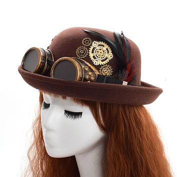 Fedoras Hat Lady Vintage Steampunk Gear Glasses Black Top Hat Unisex Couple's Brown Party Bowler Headwear