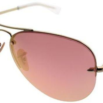 Kalete Ray-Ban RB 3449 001/E4 Gold Metal Aviator Sunglasses Copper Lens
