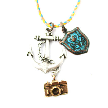 Anchor Crest and Camera Shaped Charm Necklace in Silver | DOTOLY