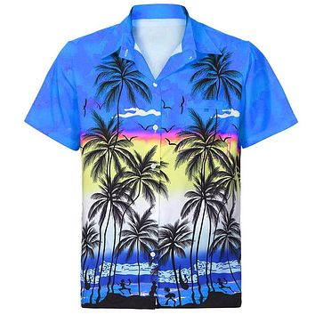 DOUDOULU Women Hawaiian Shirt Short Sleeve Front-Pocket Beach Floral Print Blouse Top Tee Office Womens Tops and Blouses #EW
